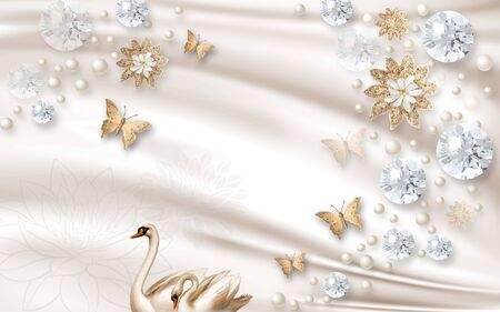 3d illustration, beige silk background, pearls, butterflies, bright faceted balls, abstract beige flowers, a pair of swans