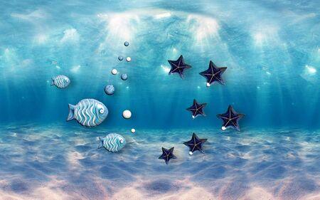 3d illustration, underwater world, blue fish and dark starfish Stok Fotoğraf