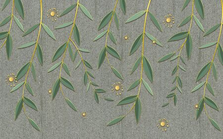 Gray textural background, long branches with green leaves, abstract yellow flower buds