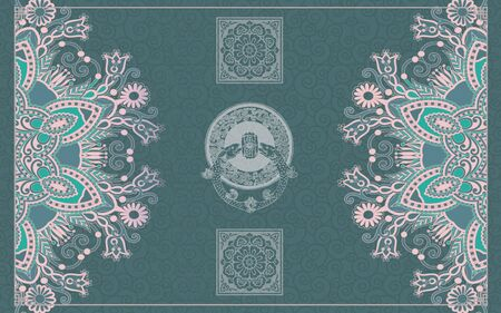 Green background, gray and pink symmetrical ornament