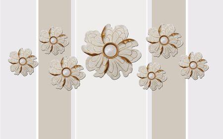 3d illustration, beige background, vertical stripes, round abstract gilded flowers Stok Fotoğraf