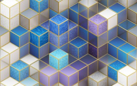 3d illustration, multi-colored cubes with golden ribs Stok Fotoğraf
