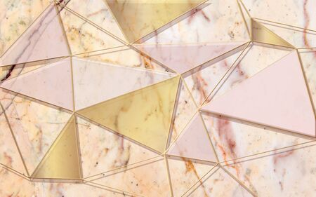 3d illustration, marble background, translucent multicolored triangles Stok Fotoğraf