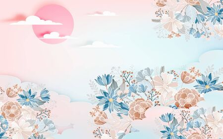 Abstract beige and blue flowers, large pink sun and clouds Stok Fotoğraf