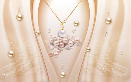 3d illustration, beige background, gold pearls, silver pearl on a gold chain Stock Photo