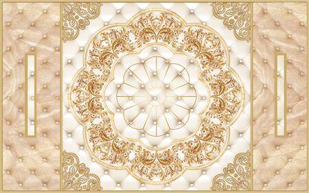 3d illustration, beige upholstery, golden frames and gold ornament