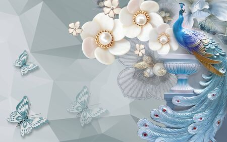 3d illustration, gray abstract geometric background large white ceramic flowers with pearls, blue peacock on a pedestal