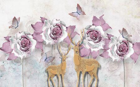 3d illustration, light background, large white-lilac roses, beige paper deers