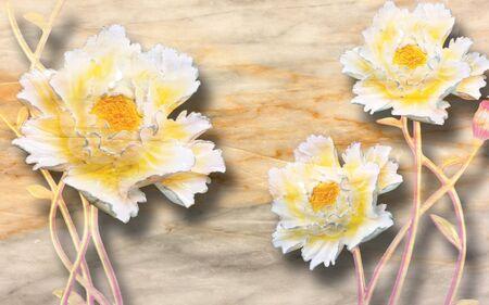 3d illustration, beige marble background, wonderful white-yellow large peonies