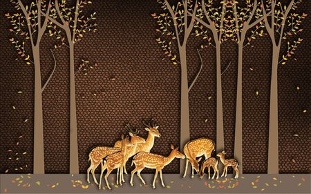3d illustration, brown background, tall autumn trees, a herd of deers 스톡 콘텐츠