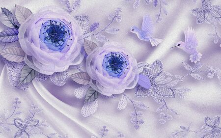 3d illustration, light silk background, large abstract purple roses with crystals, a pair of purple fairy birds
