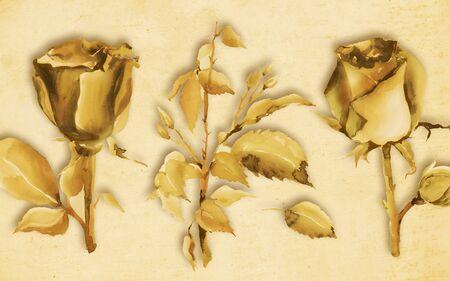 3d illustration, beige background, large golden roses with leaves Foto de archivo - 135430230