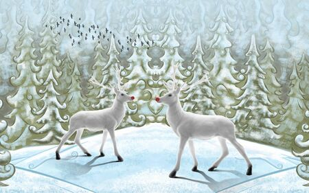 3d winter illustration, spruce forest, beautiful white deer with red noses in a clearing 스톡 콘텐츠
