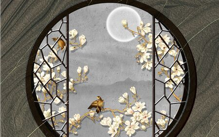 3d illustration, a round window in a wooden wall, white magnolia flowers and a full moon