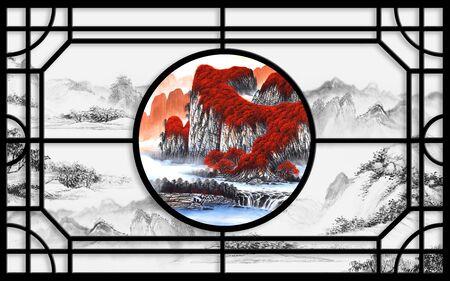 3d illustration, monochrome and color oriental landscape in black vintage frame