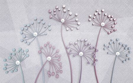 3d illustration, light fabric geometric background, subtle abstract flowers with pearls Banco de Imagens