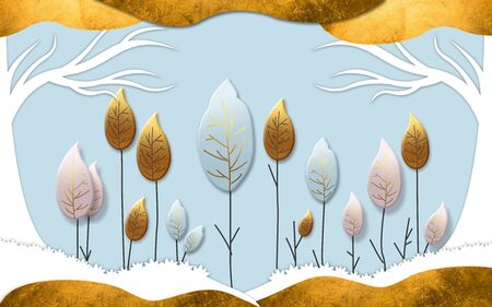 3d illustration, blue and white background, gold, pink and blue abstract leaf-shaped trees