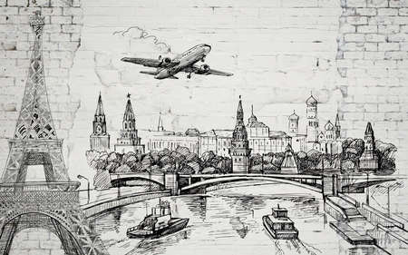 3d illustration, old light brick wall, contours of world landmarks, an airplane in the sky and boats on a river