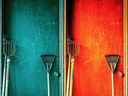 Gardening tools with the colorful doors.