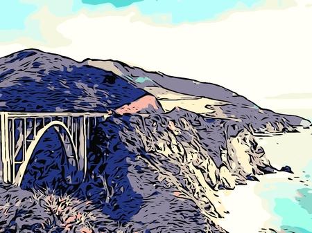 sur: bixby bridge view big sur california USA in different style Stock Photo