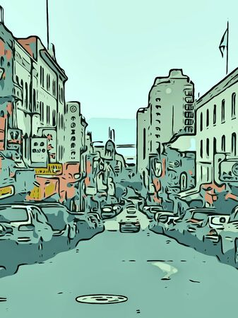 busy street: busy street with buildings and cars Stock Photo