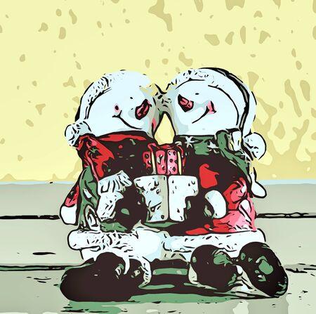 christmas gift: snowman holding christmas gift