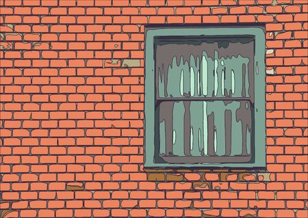 old brick wall: window with old brick wall building Stock Photo