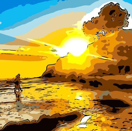 Caminando por la playa con una hermosa puesta de sol Foto de archivo - 42091374