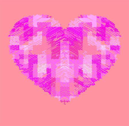 corazon rosa: fresco en forma de coraz�n de color rosa
