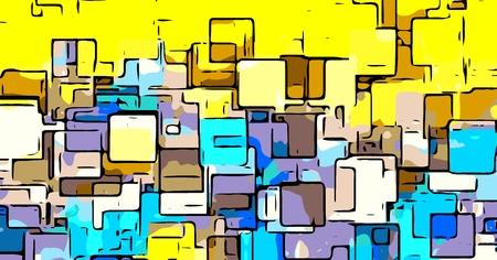 신선하고 다채로운 그리기 사각형 모양
