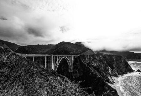 bixby: Bixby bridge,Big Sur,California,USA in black and white Stock Photo