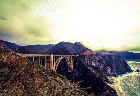 bixby: foggy day at Bixby bridge,Big Sur,California,USA
