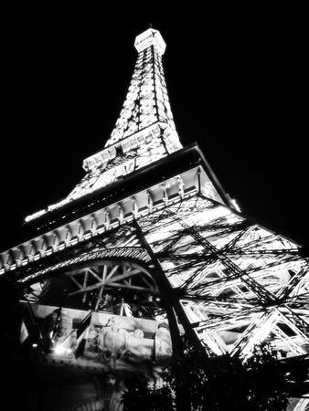 Eiffel Tower at night in Las Vegas,USA in black and white