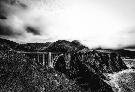 bixby: Bixby bridge, Big Sur, California, USA in winter in black and white Stock Photo