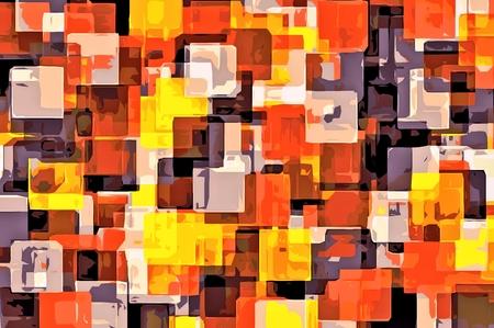 オレンジ色の黄色と黒の正方形の抽象的な背景を塗る 写真素材