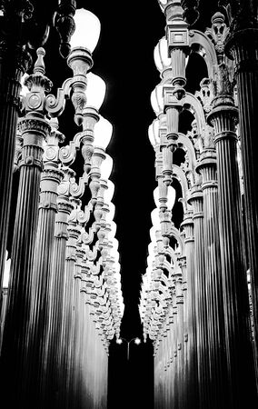 classic light bulb: urban light at LACMA, Los Angeles, USA at night in black and white