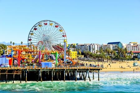 santa monica: ferris wheel with beach view at Santa Monica, California, USA Editorial