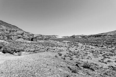 red rock: Red Rock Canyon, USA in black and white Stock Photo