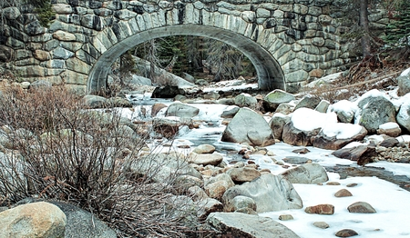 sequoia national park: river with snow in the forest at Sequoia national park, USA in winter
