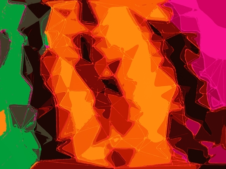 fine detail: brown orange yellow green and pink drawing and painting abstract background