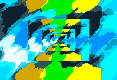 fine detail: blue green and yellow painting abstract background