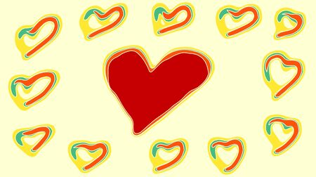 yellow heart: drawing red green and yellow heart with yellow background