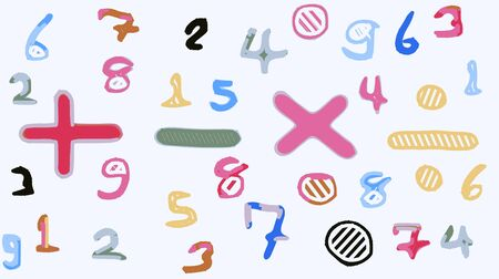 colorful drawing numbers and math symbol Stock Photo