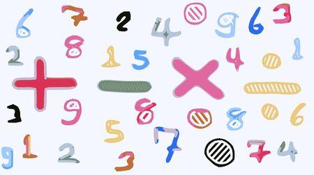 kleurrijke tekening nummers en wiskundige symbool