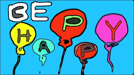 be: BE HAPPY alphabet with balloons and blue background