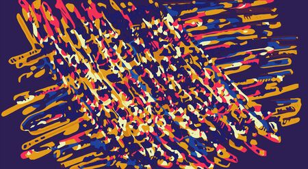 fine detail: drawing lines in blue pink and yellow with blue background