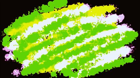 fine detail: green yellow white and pink painting with black background