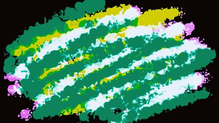fine detail: green white yellow and pink painting abstract with black background