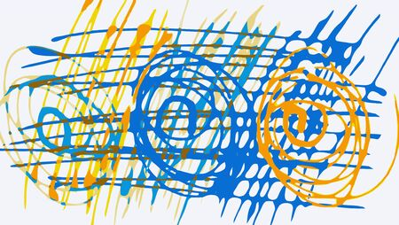 fine detail: drawing circle and lines in blue orange and yellow