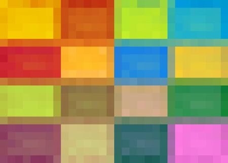 fine detail: colorful square pixel abstract background in red blue orange pink purple and green